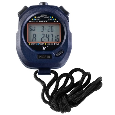 Two Rows 10 Memories Sport Stopwatch with Countdown Alarm Time Temperature Display