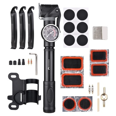 Mini Bike Pump with Gauge & Repair Kit 160PSI Bike Air Pump Presta & Schrader Valves Bike Tire Repair Set Pump Cycling Air Inflator