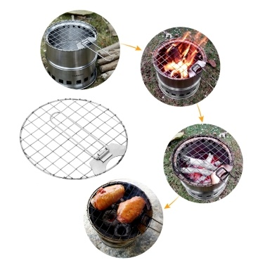 TOMSHOO Portable Folding Windproof Wood Burning Stove Compact Stainless Steel Alcohol Stove Outdoor Camping Hiking Backpacking Picnic BBQ