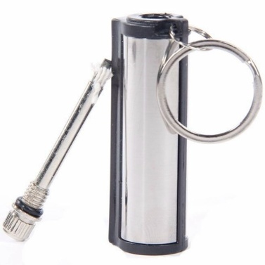 Cylindrical Stainless Steel Key Chain Lighter Survival Endless Match Box 10000 Times Outdoor Emergency Flint Fire Starter