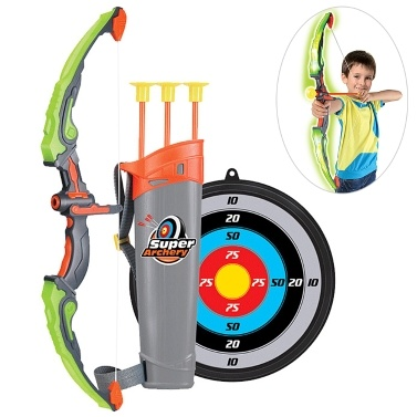 Kids Bow and Arrow Toy Set Light Up Archery Bow Set with Target Quiver 3 Suction Cup   Arrows Outdoor Toys for Children 6-14 Years Old