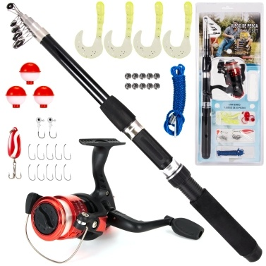 Fishing Rod and Reel Combo 33pcs Fishing Tackle Set Telescopic Fishing Rod Pole with Spinning Reel Lures Float Jig Hooks Accessories