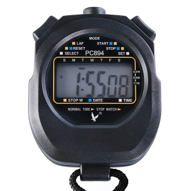 Single Row 2 Memories Stopwatch with Time Date Display Digital Sports Timer