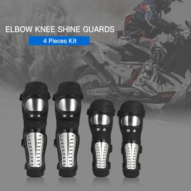 Elbow Knee Shin Guard Pads 4Pcs Kit Breathable Adjustable Knee Cap Pads Protector Elbow Armor for Motorcycle Motocross Racing
