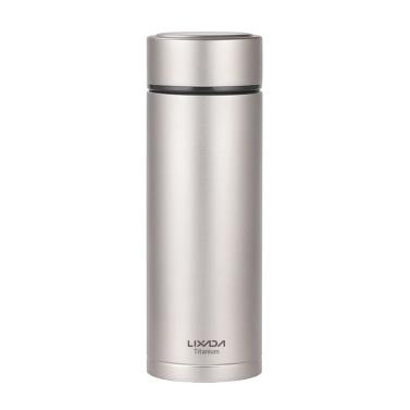 Lixada Double Wall Vacuum Insulated Titanium Water Bottle Flask Outdoor Sports Leak Proof Water Bottle with Tea Infuser(380ml)