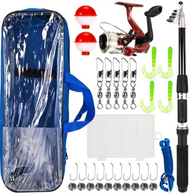 Fishing Rod and Reel Combo with Carry Case 36pcs Fishing Tackle Set Telescopic Fishing Rod Pole