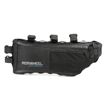 ROSWHEEL Bicycle Bag 3L + 1L Water Resistant Bike Front Frame Tube Triangle Bag Cycling Pannier Bag Pouch