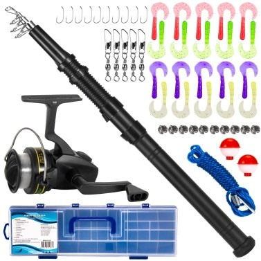 Fishing Rod and Reel Combo with Carry Box 51pcs Fishing Tackle Set Telescopic Fishing Rod Pole