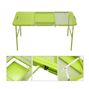 TOMSHOO Two Heights Mutifunctional Combo Trible Treble Folding Table Desk with Four Chairs Picnic Camping Festival