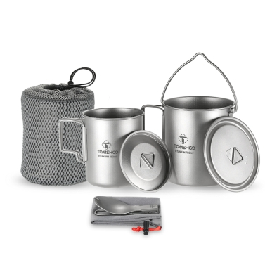 TOMSHOO Lightweight Titanium 3 Pieces Set