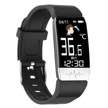 T1S Körpertemperaturerkennung Intelligentes Armband Multifunktions-Körpergesundheitsmonitor IP67 Wasserdichtes Sportarmband