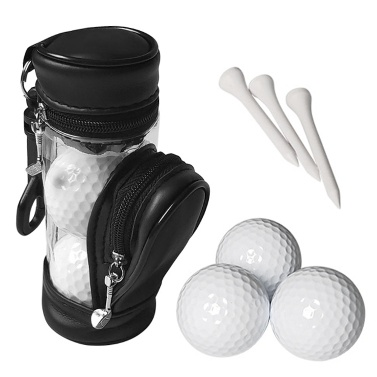 Golf Balls and Tees Pouch Bag Storage Case Holder with 3 Balls and 3 Tees Set