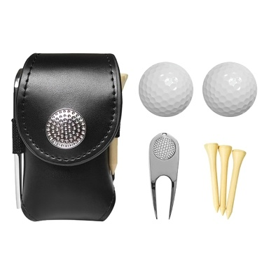 Leather Golf Ball Pouch Bag Mini Pocket Golf Ball Bag Holder with 2 Balls 3 Tees 1   Golf Divot Repair Tool Set