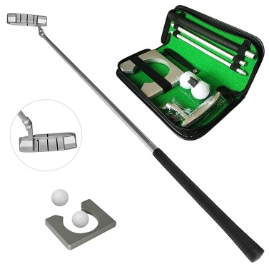 Golf Putting Set with Golf Putter 2 Golf Balls Golf Putting Cup for Travel Indoor   Golf Putting Practice Portable Golf Putter Kit Fits for Right Handed