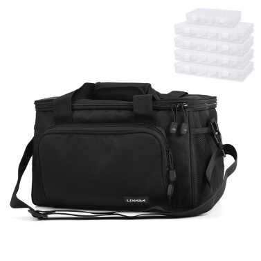 Lixada Fishing Tackle Bag with 5 Tackle Boxes Trays Fishing Shoulder Bag Pack Fishing Lure Reel Storage Carrier Bag Case
