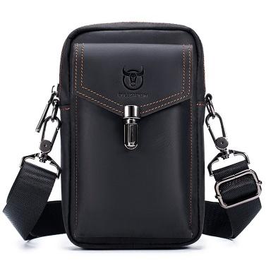 Carteira masculina de couro bolsa de viagem mensageiro de bolsa celular crossbody