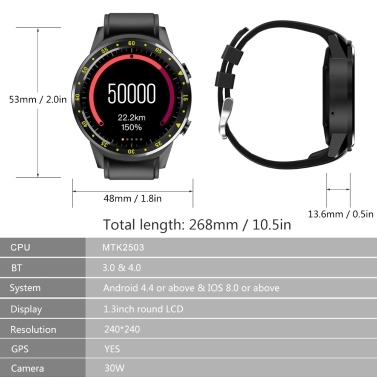 F1 Sport Smart Watch with Touchscreen GPS Camera SIM Card Wristwatch for Android/IOS Phone