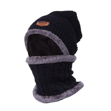 Warme Strickmütze Schal Set Plüsch Mütze Halstuch Set