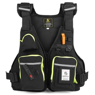 Multi-Pockets Fly Fishing Jacket Buoyancy Vest with Water Bottle Holder for Kayaking Sailing Boating Water Sports