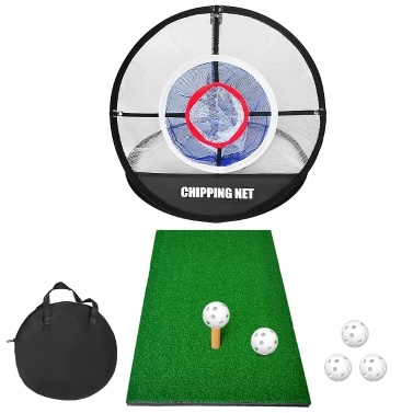 Pop Up Golf Chipping Net Combo with Golf Hitting Mat Indoor Backyard Golf Training Practice Target Hitting Net with 5 Balls