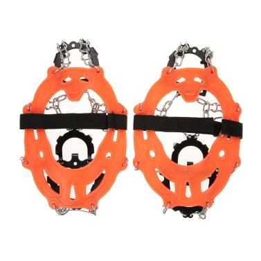 14 Zähne Manganstahl Steigeisen Nylonband rutschfeste Schuhe Cover Outdoor Ski Eis-Schnee-Gerät Wandern