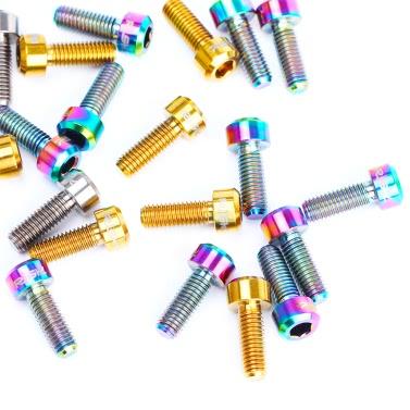 RISK 2PCS M5×14mm Titanium Bolts for Bike Thumb Shifter Fixed Screws Ti Conjoined Hexagon Ti Screws Ti Fastener MTB Bicycle Parts