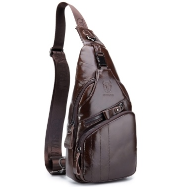 Men Sling Bag Water Resistant Anti Theft Genuine Leather Chest Pack Cross Body Bag Shoulder Backpack Casual Messenger Bag