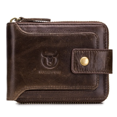 Genuine Leather Bifold Zipper Wallet for Men RFID Safe Travel Purse Pouch Gift