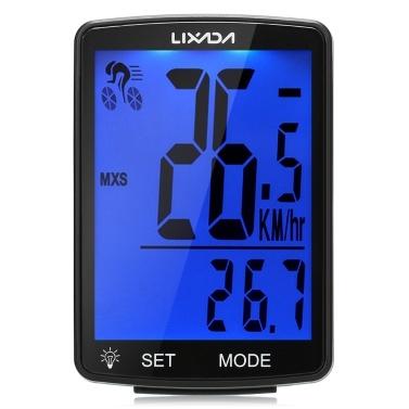 LIXADA Wireless Bike Computer Multi Functional LCD Screen Bicycle Computer Mountain Bike Speedometer Odometer IPX6 Waterproof Cycling Measurable Temperature Stopwatch  Cycling Accessories