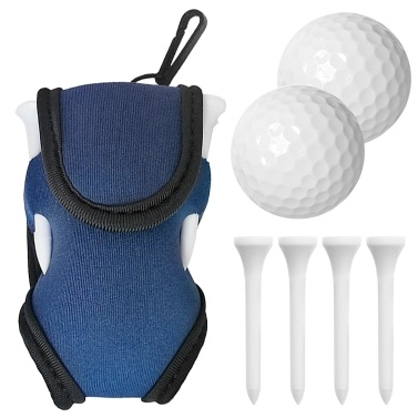 Golf Balls and Tees Pouch Bag Holder Waist Bag Golf Carrier Case with 2 Balls 4 Tees
