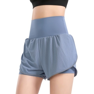 Women 2-in-1 Yoga Shorts High Waist Wide Waistband Breathable Fabric Running Dancing Fitness Sports Shorts