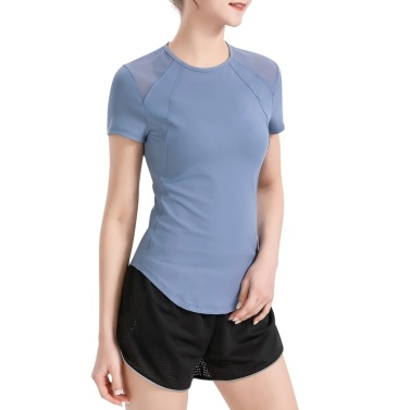 Women Sports T-Shirt Mesh Splicing Back Hollow Out Tight Fitting Short Sleeves Moisture-wicking Athletic Yoga Running Shirt Tops