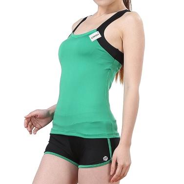Lixada Women Sleeveless Breathable Yoga Set Sports Singlet Top Bra + Shorts for Running Fitness Gym