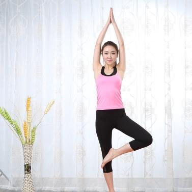 Lixada Women Tight Yoga Pants Stretchy Quick Drying Capri Pants Sports Leggings for Yoga Running