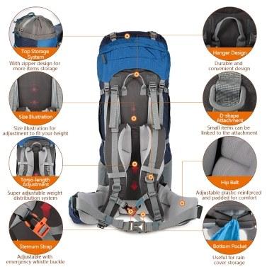 TOMSHOO 70+5L Outdoor Sport Water-resistant Backpack