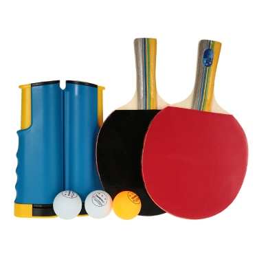 TOMSHOO Table Tennis Portable Sports To Go Set 1 Pair of Bat + 3 Balls + 1 Net