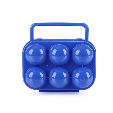 Outdoor Camping Hiking Picnic Plastic Folding 6 Eggs Carrier Holder Container Keeper Storage Box Case Handle  Blue