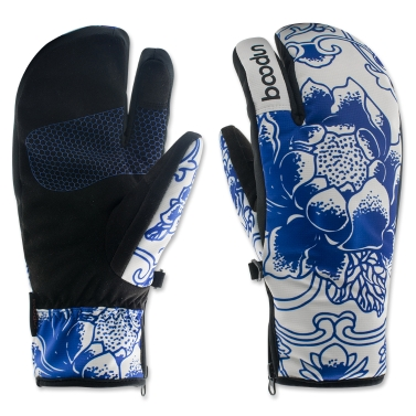 Three Fingers Cycling Gloves Windproof Winter Outdoor Thermal Sports Bike Riding Gloves Hand Warmers Skiing Mountaineering Motorcycle Racing