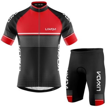Lixada Men Cycling Jersey Set Breathable Quick-Dry Short Sleeve Biking Shirt and Foam Padded Shorts MTB Cycling Outfit Set