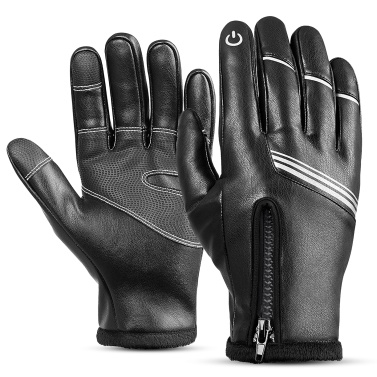 Winter Gloves Waterproof Windproof PU Gloves Warm Snowboard Gloves Ski Gloves Bicycle Gloves for Adult