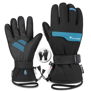 WEST BIKING Double Layer Thick Gloves Skiing Cycling Motorcycles Sports Gloves 3M Waterproof And Cold Proof Gloves Winter Gloves For Men And Women Touched Screen Gloves