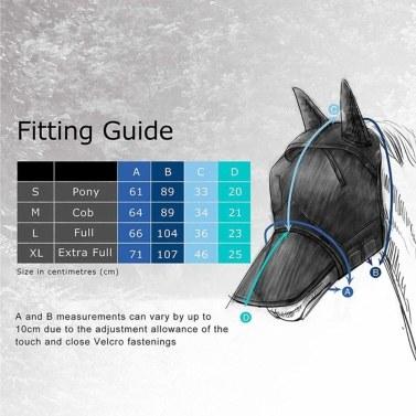 Atmungsaktive Mesh-Fliegenmaske mit Ohren-Nasen-Vollgesicht für Pferd / Kopf