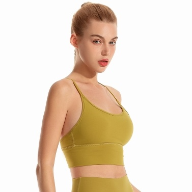 Women Sport Bra Wireless Removable Pad Strappy Running Gym Yoga Fitness Sport Cami Tank Top