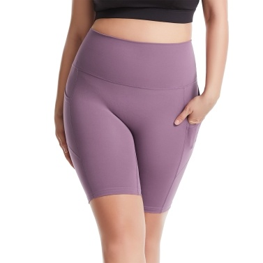 Women Yoga Pants with Pockets High Waist Sporty Leggings Tights Fitness Workout Running Cycling Skinny Bodycon Half Pants Shorts for Gym Home Streets