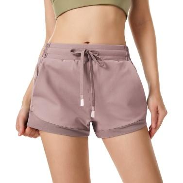 Women Sport Shorts Quick Dry with Mesh Elastic Waistband Pockets High Waist Fitness Gym Workout Yoga Short Pants