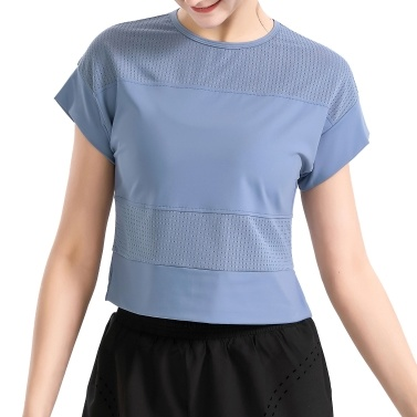 Women Mesh Splicing Sports T-shirt Cropped Short Sleeve Breathable Running Yoga Gym Workout Sportswear