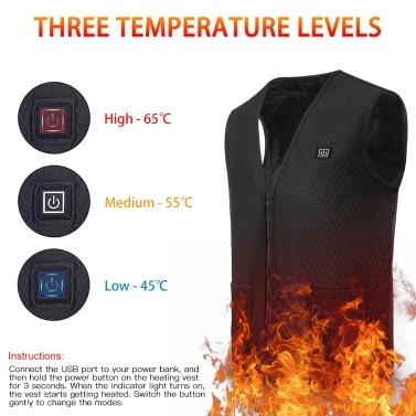 Lixada Heated Vest USB Electric Heating Vest Waistcoat Heated Clothing for Men and Women