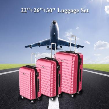"""3PCS Gepäck Set Handkoffer ABS + PC Hard Shell Trolley 22 """"+26"""" +30 """"TSA-Schloss Universal-Räder"""