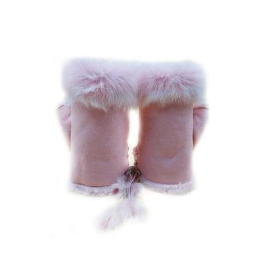 1 Pair Unique Faux Rabbit Fur Warm Half Finger Gloves
