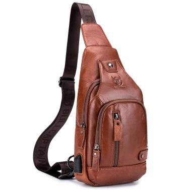 Men Genuine Leather Sling Bag Casual Shoulder Chest Crossbody Bag Hiking Travel Daypack with USB Charging Port
